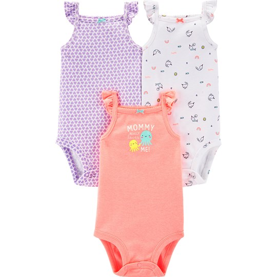 Carter's 3-Pack Flutter Baby Bodies Peach/Purple PRINT (969)