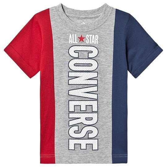Converse Navy, Red and Grey Vertical Colourblock T-Shirt 042