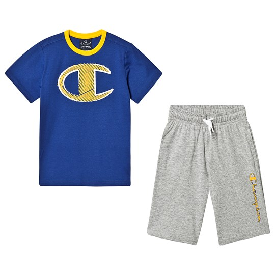 Champion Branded Tee and Shorts Set Blue and Grey DSB/OXGM