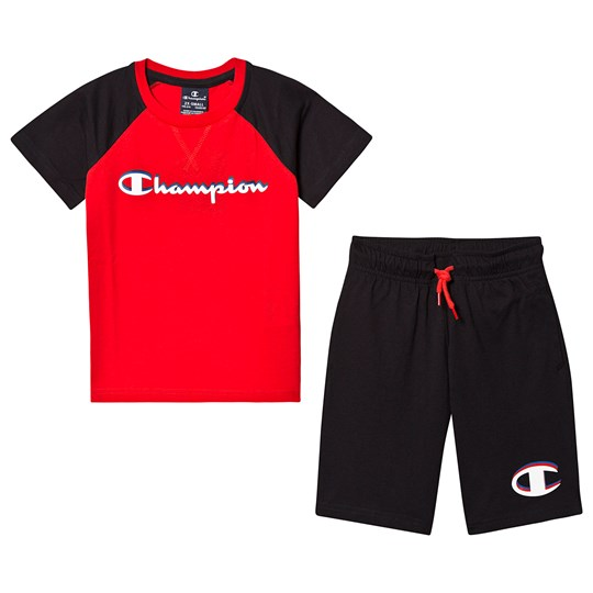 Champion Branded T-shirt och Shorts Set Röd/Svart FLS/ANTH