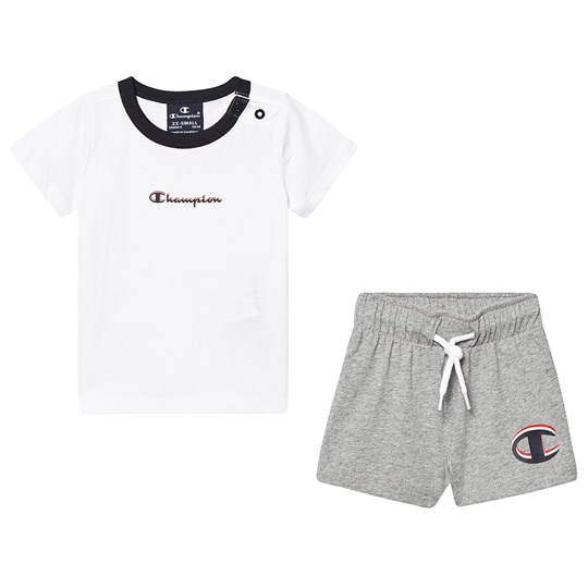 Champion Branded Tee and Shorts Set White and Grey WHT/OXGM