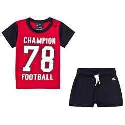 Champion Branded T-shirt och Shorts Set Röd/Marinblå