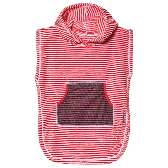 Didriksons Pier Poncho Chili Red Simple Stripes Chili Red