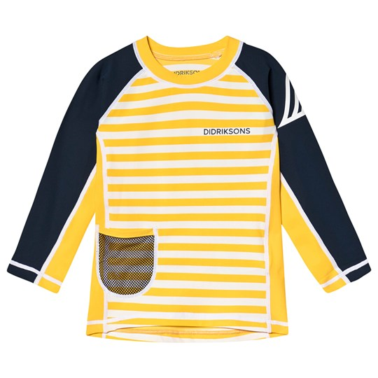 Didriksons Surf Långärmad Rashguard Yellow Simple Stripes Yellow