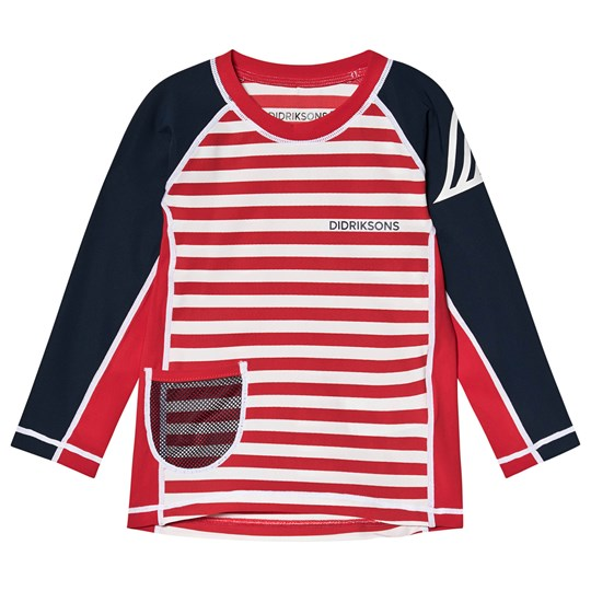 Didriksons Surf Långärmad Rashguard Chili Red Simple Stripes Chili Red