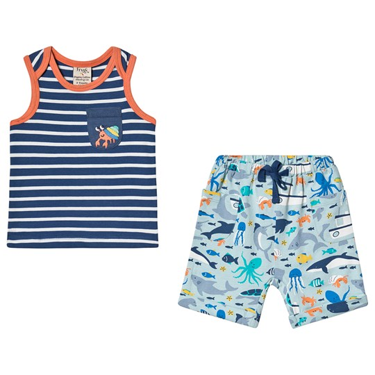 Frugi Summertime Stripe Vest and Short Set Outfit Marine Life/Hermit Crab