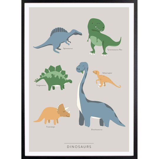 Kunskapstavlan Dinosaurs Print 30 x 40 (English Version) White