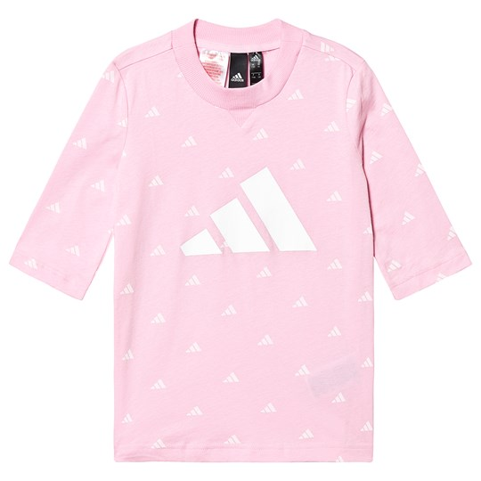 adidas Performance Pink and White Hype Logo Tee true pink/white/white