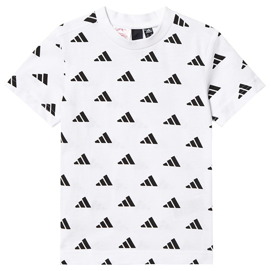 adidas Performance White All Over Logo Tee White/Black
