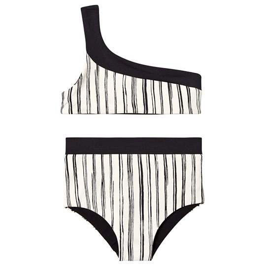 Little Creative Factory Randig One Shoulder Bamboo Bikini Svart/Vit Black stripe
