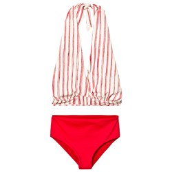 Little Creative Factory Red and White Stripe Bamboo Wrap Bikini