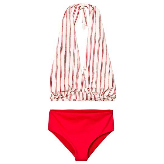 Little Creative Factory Red and White Stripe Bamboo Wrap Bikini SCARLET