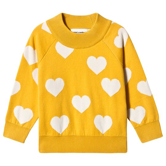 Mini Rodini Stickad Heart Tröja Gul Yellow