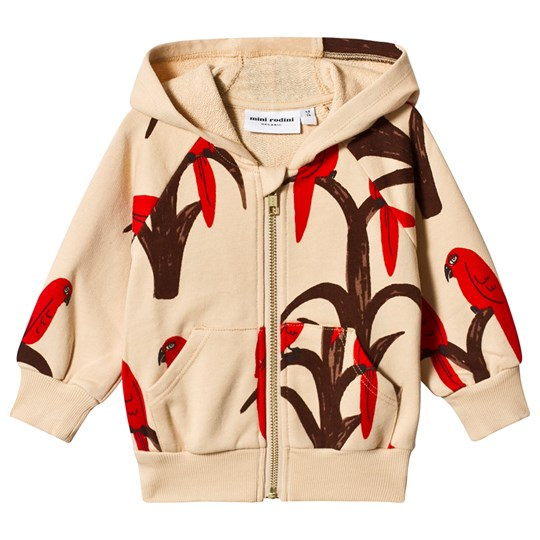 Mini Rodini Parrot Zip Hoodie in Red Red