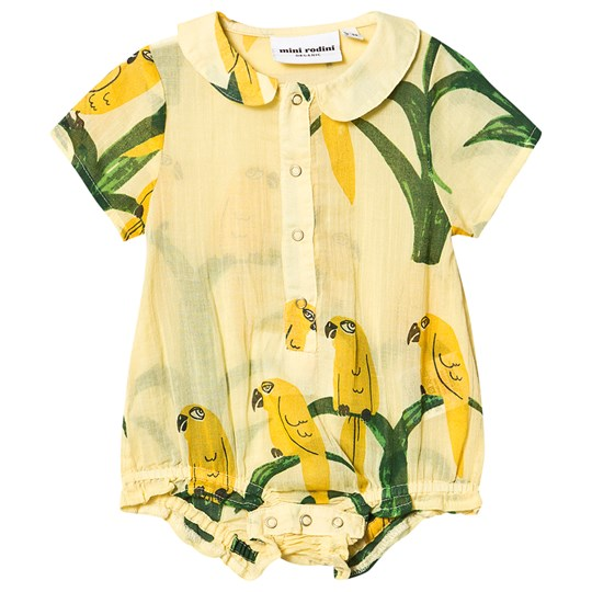 Mini Rodini Parrot Vævede Baby Body Gul Yellow
