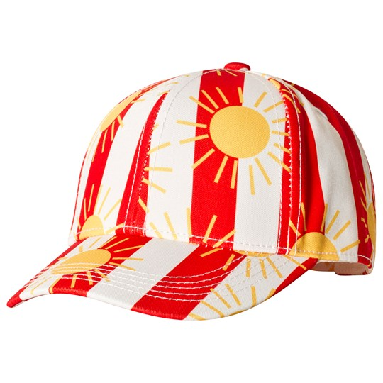 Mini Rodini Sun Stripe Cap Red Punainen