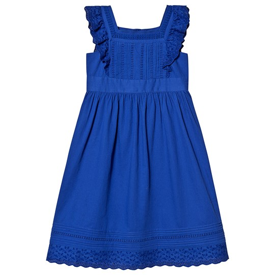 Bonpoint Blue Cotton and Lace Pin Tuck Ruffle Sleeve Dress 074
