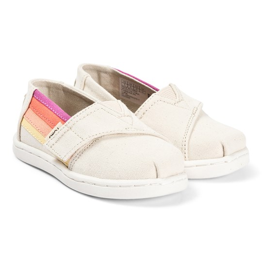 Toms Cream and Multi Side Stripe Alpargata Slip On Strap Trainers Natural