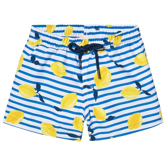 Sunuva Blue Sicilian Lemon Stripe Swim Short Blue