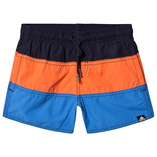adidas Performance Black, Red and Blue Block Swim Trunks legend ink/true orange/true blue