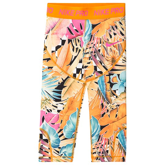 NIKE Blue and Orange Leaf Print Capri Leggings 833