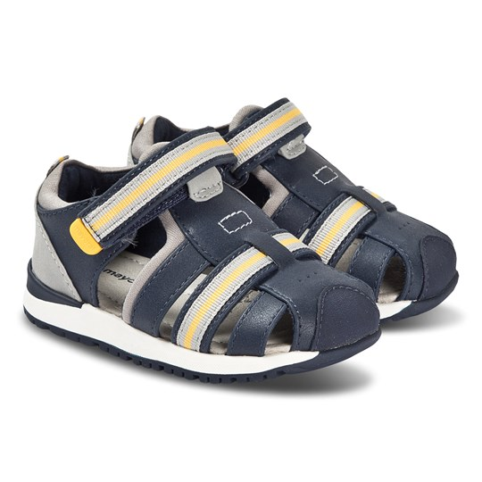 Mayoral Navy and Yellow Stripe Velcro Strap Sandals 48