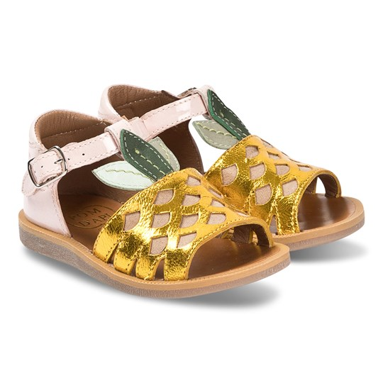 Pom Dapi Gold and Pink Patent Pineapple Leather Sandals Laminato Metal Jaune - Agave - Rose