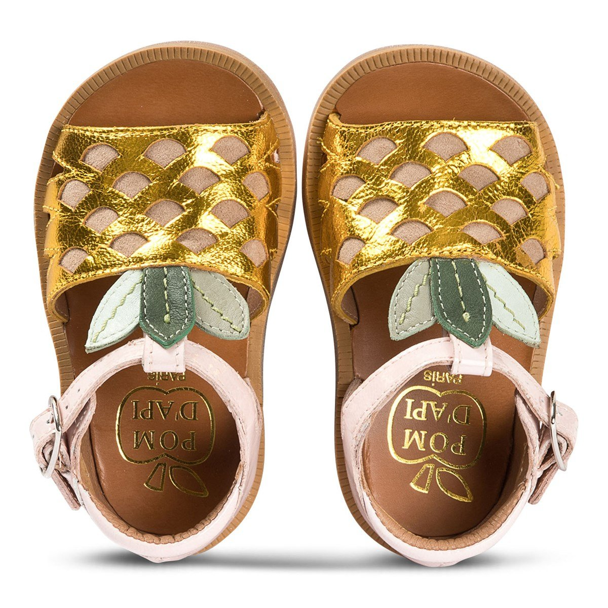 Gold and Pink Patent Pineapple Leather