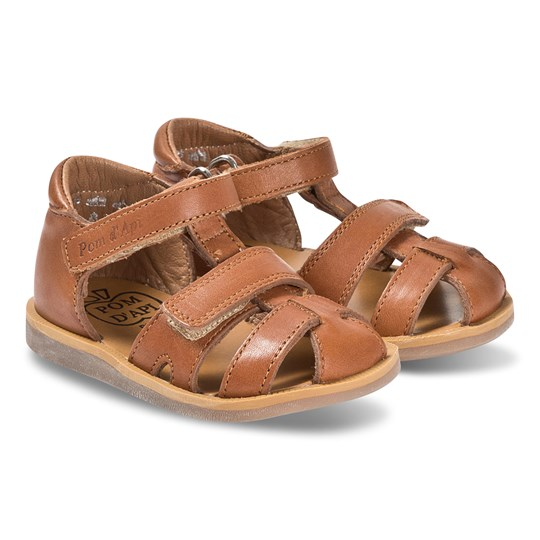 Pom Dapi Camel Leather Velcro Poppy Strap Sandals Camel