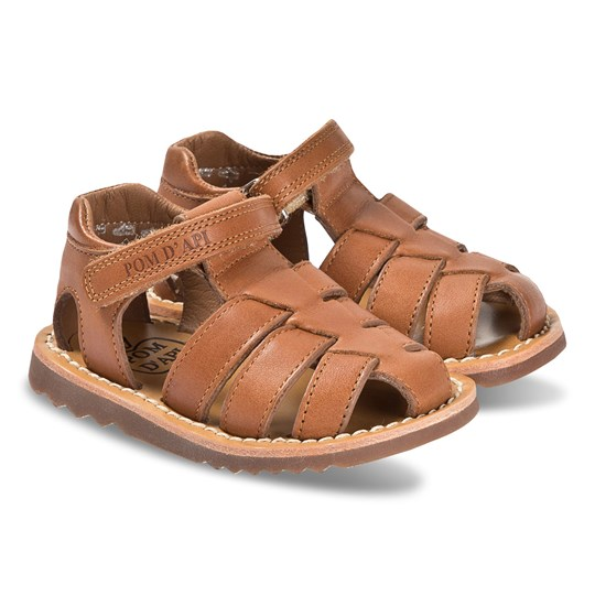 Pom Dapi Tan Leather Closed Toe Waff Papy Sandals Tomaia Camel