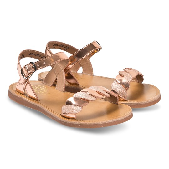 Pom Dapi Tan Leather and Glitter Plagette Twist Sandals Specchio - Glitter Nudew