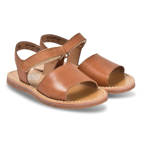 Pom Dapi Camel Plage Stitch Easy Leather Velcro Sandals Tomaia Camel