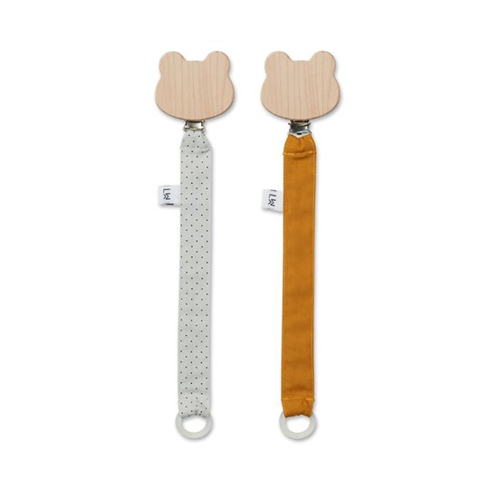 Liewood 2-Pack Sia Pacifier Strap Little Dot/Dumbo Grey 0055 Little dot dumbo grey