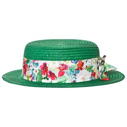 Mayoral Green and Floral Bow Detail Straw Hat