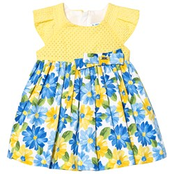 Mayoral Yellow & Blue Floral Print Dress