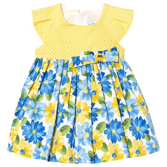 Mayoral Yellow & Blue Floral Print Dress 45