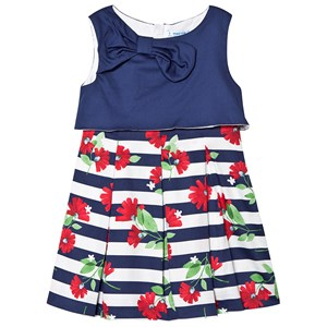 Image of Mayoral Navy and White Stripe Floral Print Dress 2 years (1302729)