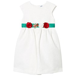 Mayoral White Jacquard Dress with Green Floral Belt