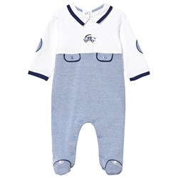 Mayoral Blue and White Car Embroidered Pocket Detail Babygrow