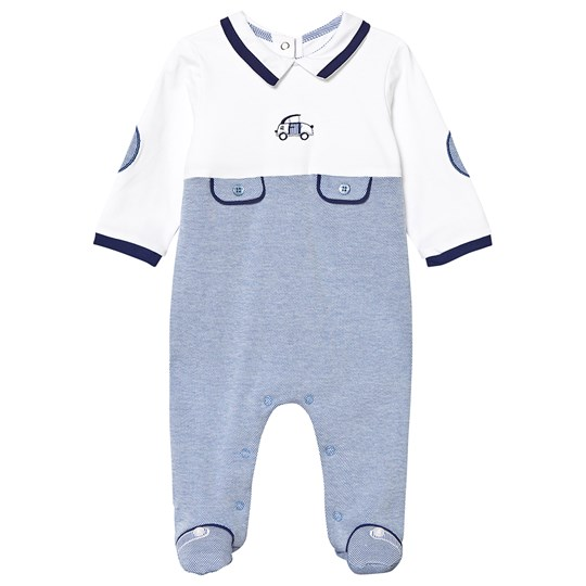 Mayoral Blue and White Car Embroidered Pocket Detail Babygrow 47