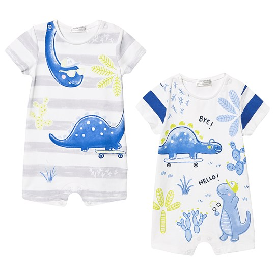 Mayoral Blue and Grey Stripe Dino Print 2 Pack Rompers 41
