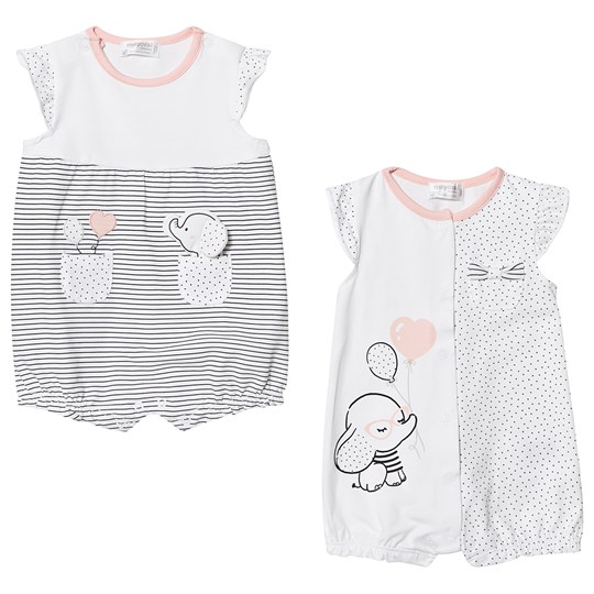 Mayoral White and Black Elephant Applique 2 Pack Rompers 47