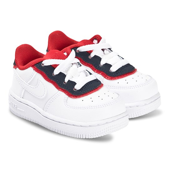 NIKE White and Navy Nike Air Force 1 Infants Trainers 101