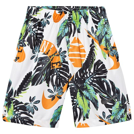 NIKE White Tropical Print Dri-Fit Shorts 833