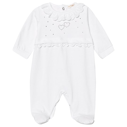 Mintini Baby Diamante Footed Baby Body Vit White