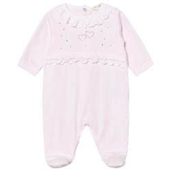 Mintini Baby Diamante Footed Baby Body Rosa