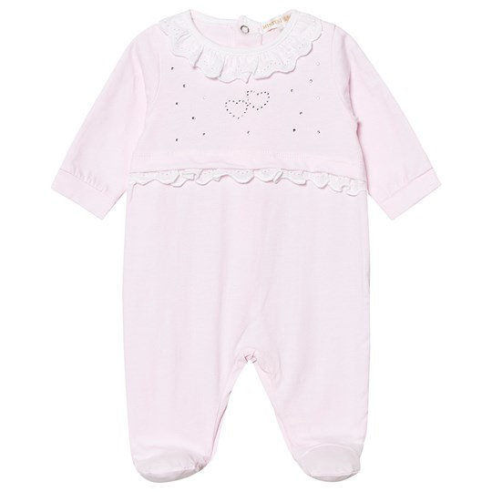 Mintini Baby Diamante Footed Baby Body Rosa Pink
