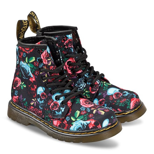 Black and Pink Floral Canvas 1460 Boots