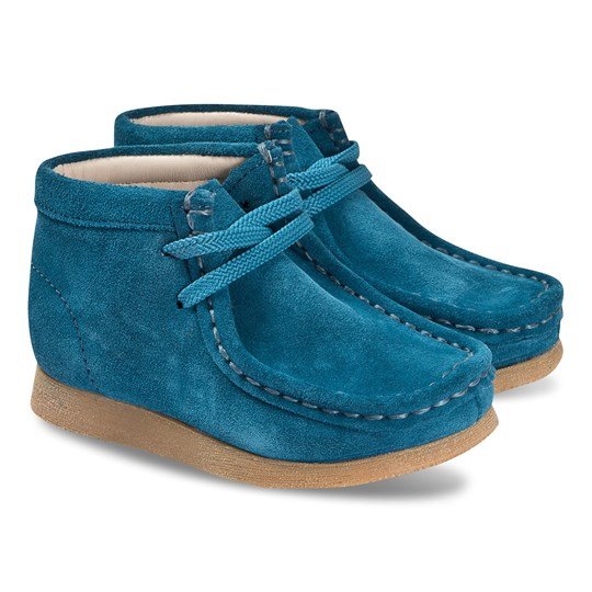 Clarks Wallabee Boots Blue Teal Suede