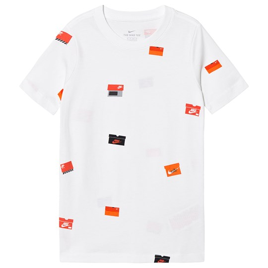 NIKE White Shoebox All Over Print Branded Tee 100
